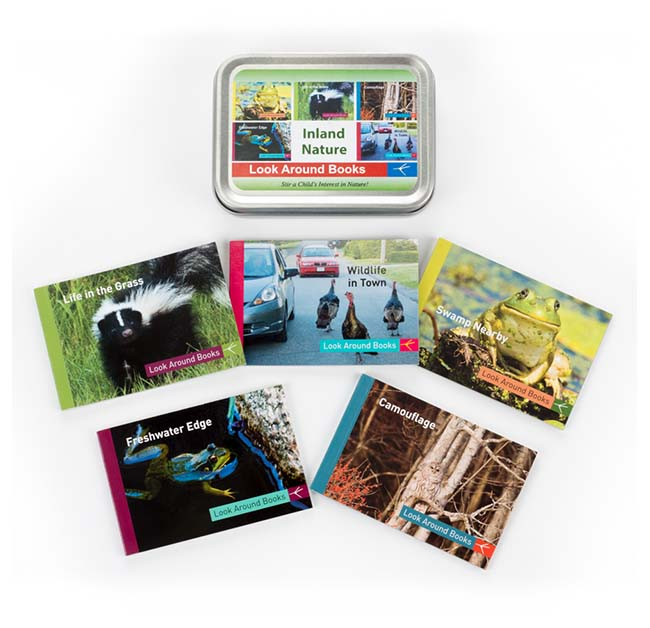 Inland Nature Box Set by Tony King.  Tin box measures 4.4 x 3.3 x 1 inch and contains 5 Look Around Book titles:  Life in the Grass, Wildlife in Town, Swamp Nearby, Freshwater Edge and Camouflage.  Retail $19.95 each.