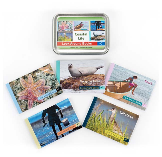 Coastal Life Box Set by Tony King.  Tin box measures 4.4 x 3.3 x 1 inch and contains 5 Look Around Book titles:  Sea's Edge, Along the Rocks, Beach, Low Tide and  Salt Marsh.  Retail $19.95 each.