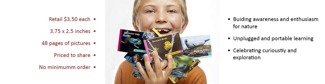 Young smiling boy with a handful of Look Around Books; with bulleted text on left and right of image.  Tony King's Look Around Books.
